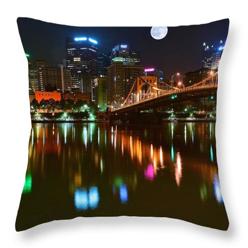 Pittsburgh Throw Pillow featuring the photograph Full Moon Over Pittsburgh by Frozen in Time Fine Art Photography
