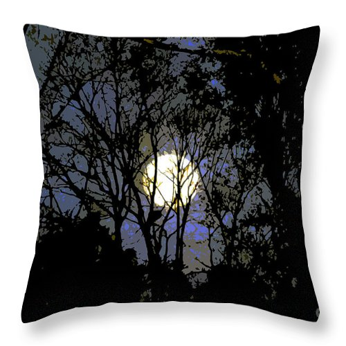 +moon Throw Pillow featuring the painting Full Moon Rising by David Lee Thompson