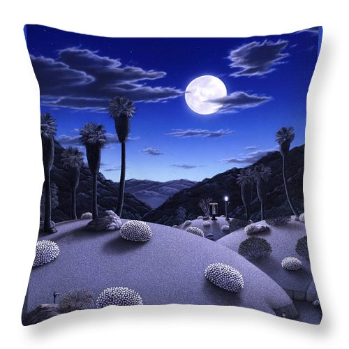 Desert Throw Pillow featuring the painting Full Moon Rising by Snake Jagger