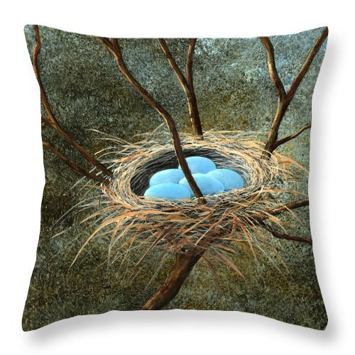 Birds Nest Throw Pillow featuring the painting Full Nest by Frank Wilson