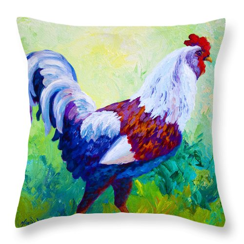 Rooster Throw Pillow featuring the painting Full Of Himself by Marion Rose
