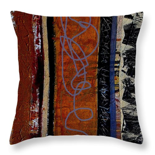 Abstract Throw Pillow featuring the mixed media Full Of Surprises by Ruth Palmer