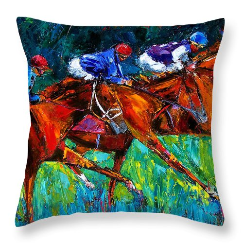 Horse Race Throw Pillow featuring the painting Full Speed by Debra Hurd