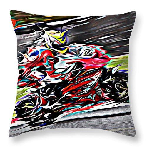 Motorcycle Throw Pillow featuring the digital art Fullspeed On Two Wheels 6 by Jean-Louis Glineur alias DeVerviers