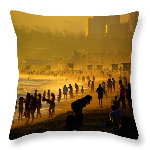 Beach Throw Pillow featuring the photograph Fun At The Beach 01 by Henry Murray