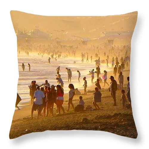 Beach Throw Pillow featuring the photograph Fun At The Beach 03 by Henry Murray