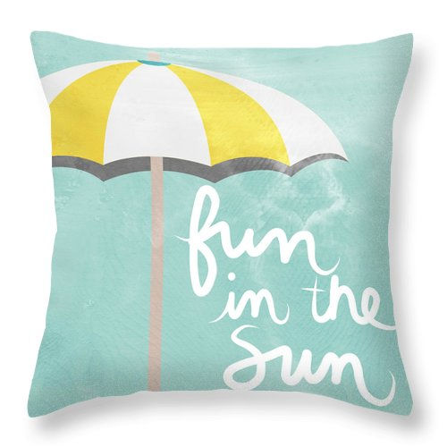 Beach Throw Pillow featuring the painting Fun In The Sun by Linda Woods