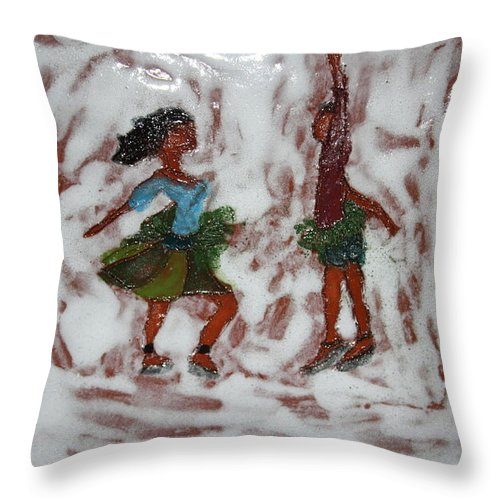 Jesus Throw Pillow featuring the ceramic art Fun Times - Tile by Gloria Ssali