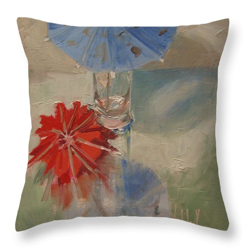 Umbrellas Throw Pillow featuring the painting Funbrellas by Barbara Andolsek