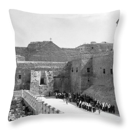Bethlehem Throw Pillow featuring the photograph Funeral Procession In Bethlehem During 1934 by Munir Alawi