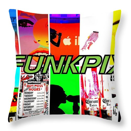 Funkpix Throw Pillow featuring the photograph Funkpix Logo by Funkpix Photo Hunter