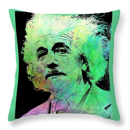 Einstein Throw Pillow featuring the painting Funky Einstein by John Malone