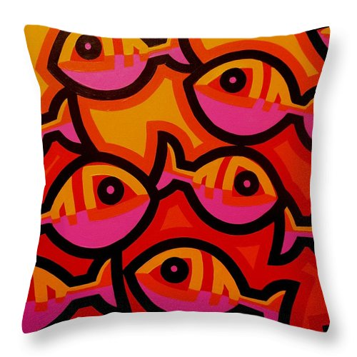 Fish Throw Pillow featuring the painting Funky Fish Iv by John Nolan 8c2eb07d4