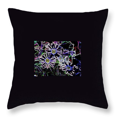 Flowers Throw Pillow featuring the digital art Funky Flowers by Anita Burgermeister