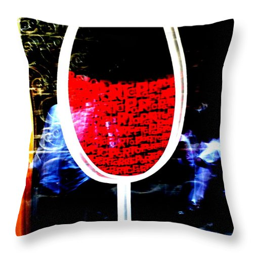 Red Throw Pillow featuring the photograph Funky French Red Wine Glass by Funkpix Photo Hunter