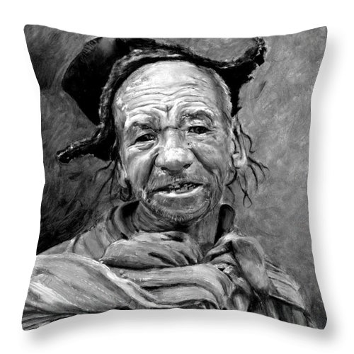 Man Throw Pillow featuring the painting Funky Hat by Enzie Shahmiri