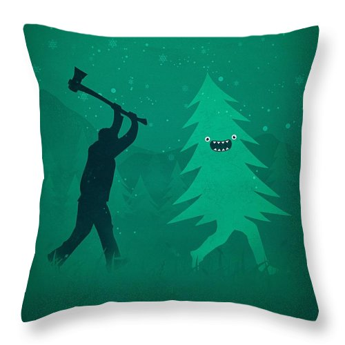 Cute Throw Pillow featuring the digital art Funny Cartoon Christmas tree is chased by Lumberjack Run Forrest Run by Philipp Rietz