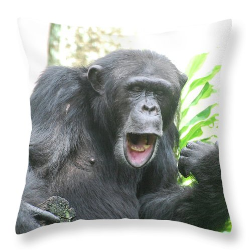 funny chimp making faces with his mouth and lips throw pillow for