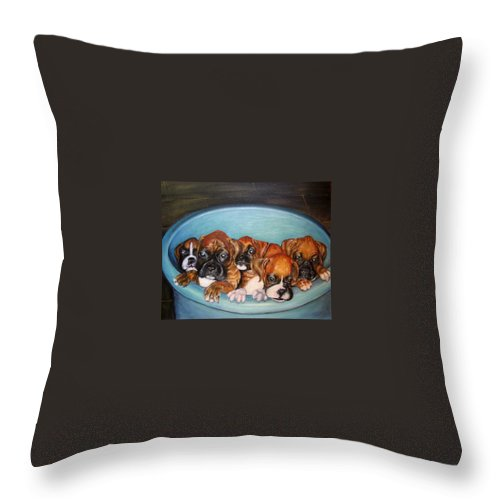 Oil Throw Pillow featuring the painting Funny Puppies orginal oil painting by Natalja Picugina