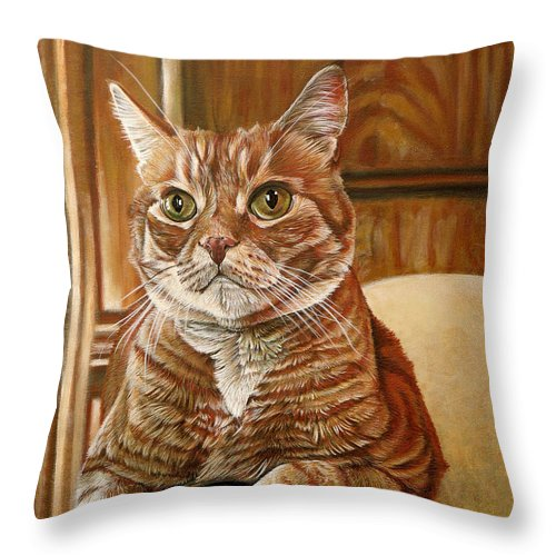Cat Throw Pillow featuring the painting Furby by Cara Bevan