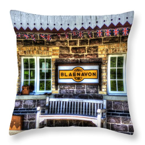 Pontypool And Blaenavon Railway. Pontypool. Blaenavon Throw Pillow featuring the photograph Furnace Sidings Railway Station 3 by Steve Purnell