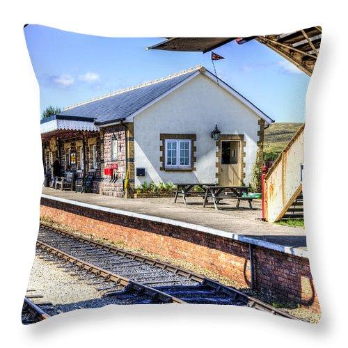 Pontypool And Blaenavon Railway. Pontypool. Blaenavon Throw Pillow featuring the photograph Furnace Sidings Railway Station by Steve Purnell