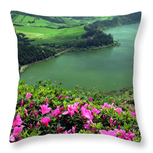 Azaleas Throw Pillow featuring the photograph Furnas Lake Azores by Gaspar Avila