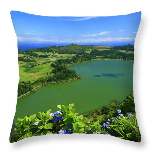 Azores Throw Pillow featuring the photograph Furnas Lake by Gaspar Avila