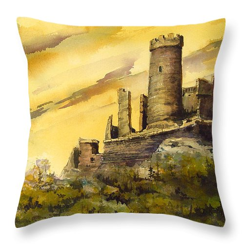 Castle Throw Pillow featuring the painting Furstenburg On The Rhine by Sam Sidders