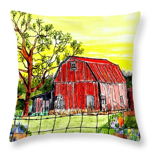 Big Red Barn Throw Pillow featuring the painting Further Down The Road by Connie Valasco