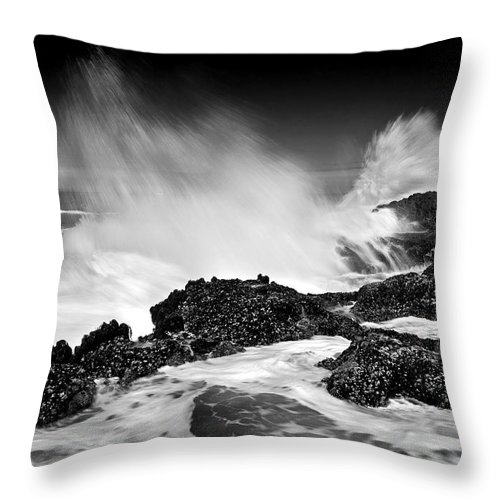 Waves Throw Pillow featuring the photograph Fury by Mike Dawson