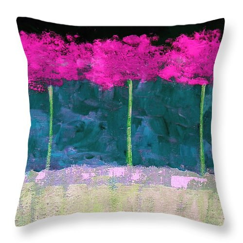 Abstract Throw Pillow featuring the painting Fuschia Trees by Ruth Palmer