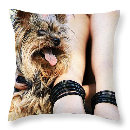 Dog Art Throw Pillow featuring the painting Fuzzy Dogs by Queso Espinosa