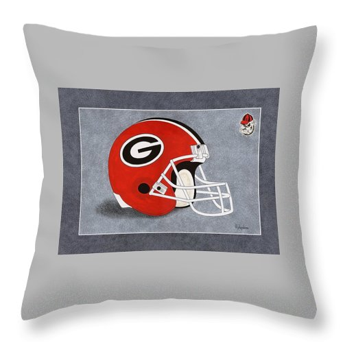 Throw Pillow featuring the painting Ga.bulldogs Helmet T-shirt by Herb Strobino