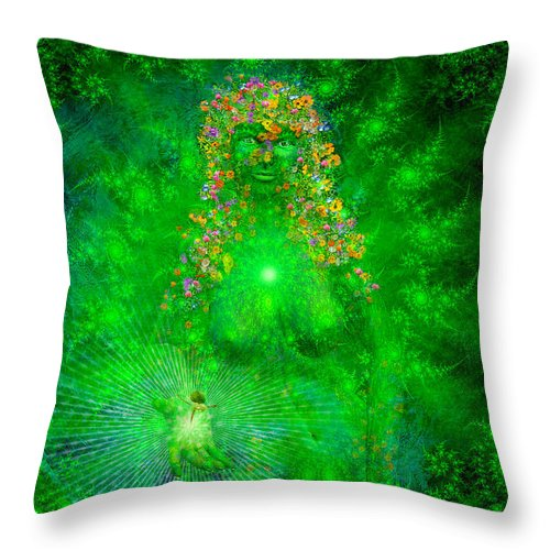 Gaia Throw Pillow featuring the painting Gaia by Robby Donaghey