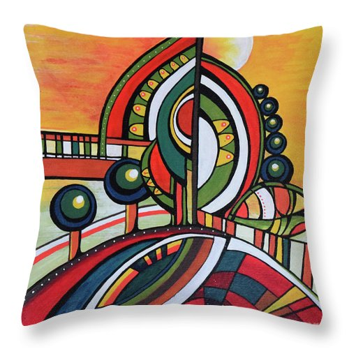 Original Painting Throw Pillow featuring the painting Gaia's Dream by Aniko Hencz