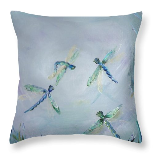 Dragonfly Throw Pillow featuring the painting Gairid Beatha by Jessica Mason