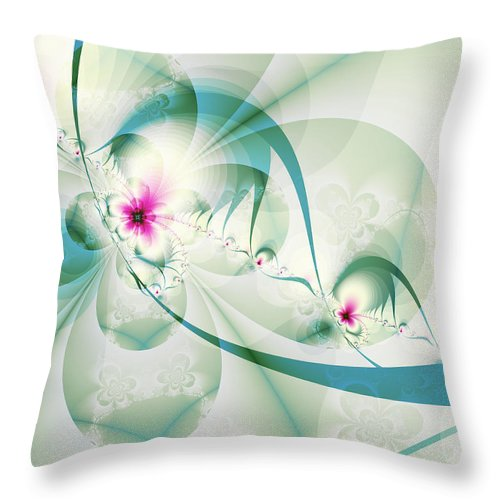 Fractal Throw Pillow featuring the digital art Galactic Flower by Frederic Durville