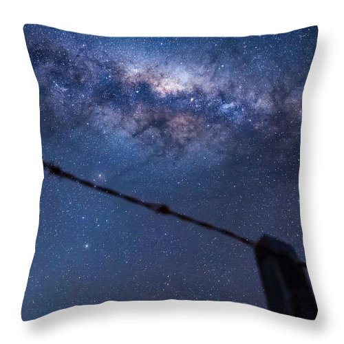 Milky Way Throw Pillow featuring the photograph Galactic Kiwi On A Barbed Wire by Leith Robertson