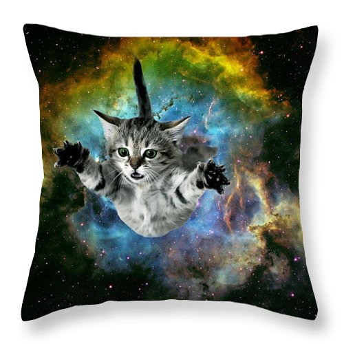 Cosmic Cat Throw Pillow featuring the digital art Galaxy Cat Universe Kitten Launch                         by Johnnie Art