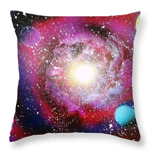 Spray Paint Art Throw Pillow featuring the painting Galaxy by Emily Cummings