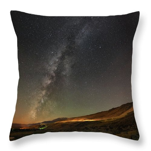 Reno Throw Pillow featuring the photograph Galena Creek Bridge Under Summer Sky Filled With Milky Way And Mt. Rose In The Background by Brian Ball