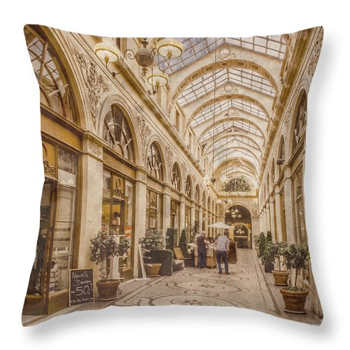 Paris Throw Pillow featuring the photograph Paris, France - Galerie Vivienne by Mark Forte
