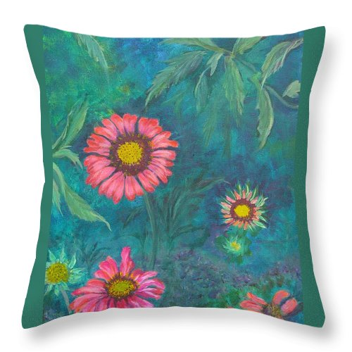 Garden Throw Pillow featuring the painting Gallardia by Peggy King