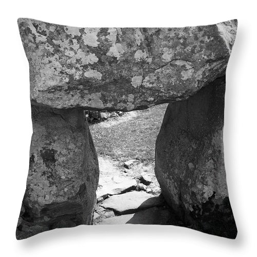 Ireland Throw Pillow featuring the photograph Gallery Entrance At Creevykeel Court Cairn Ireland by Teresa Mucha