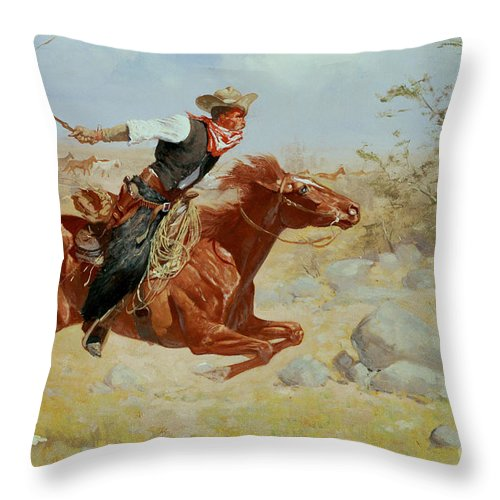 Galloping Horseman Throw Pillow featuring the painting Galloping Horseman by Frederic Remington