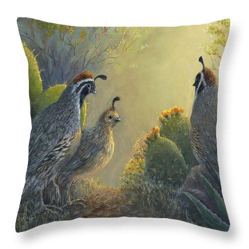 Quail Throw Pillow featuring the painting Gambel's Quail - Early Light by June Hunt