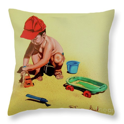 Beach Throw Pillow featuring the painting Game At The Beach - Juego En La Playa by Rezzan Erguvan-Onal