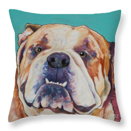 Pat Saunders-white Pet Portraits Throw Pillow featuring the painting Game Face  by Pat Saunders-White