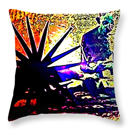 Pietyz Throw Pillow featuring the painting Gandhiji-work Is Worship by Piety Dsilva